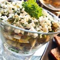 Kartoffelsalat med æg, grønt og hytteost